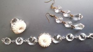 Armband, ring, halsband glasprismor